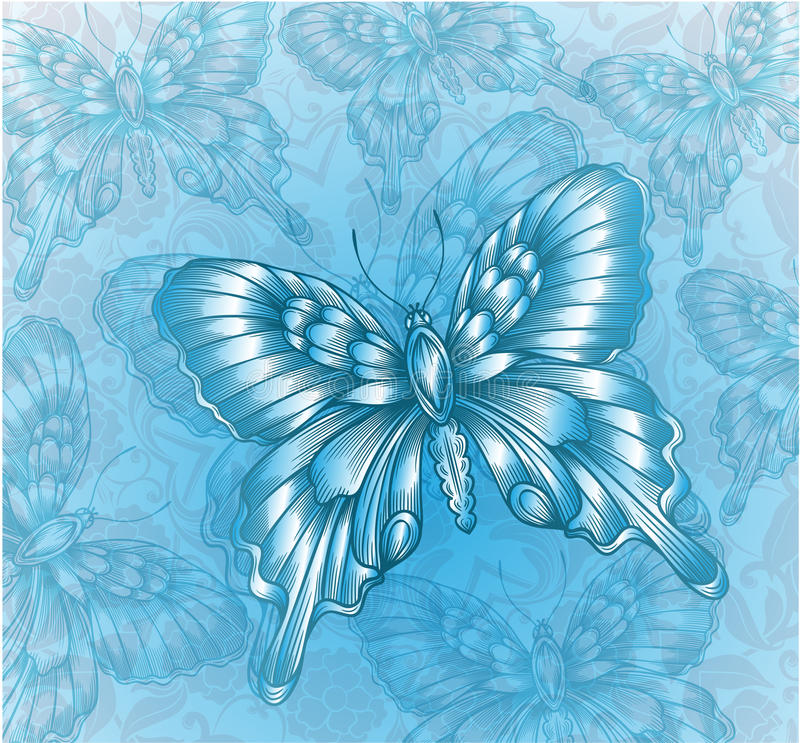 Mariposa azul brillante libre illustration