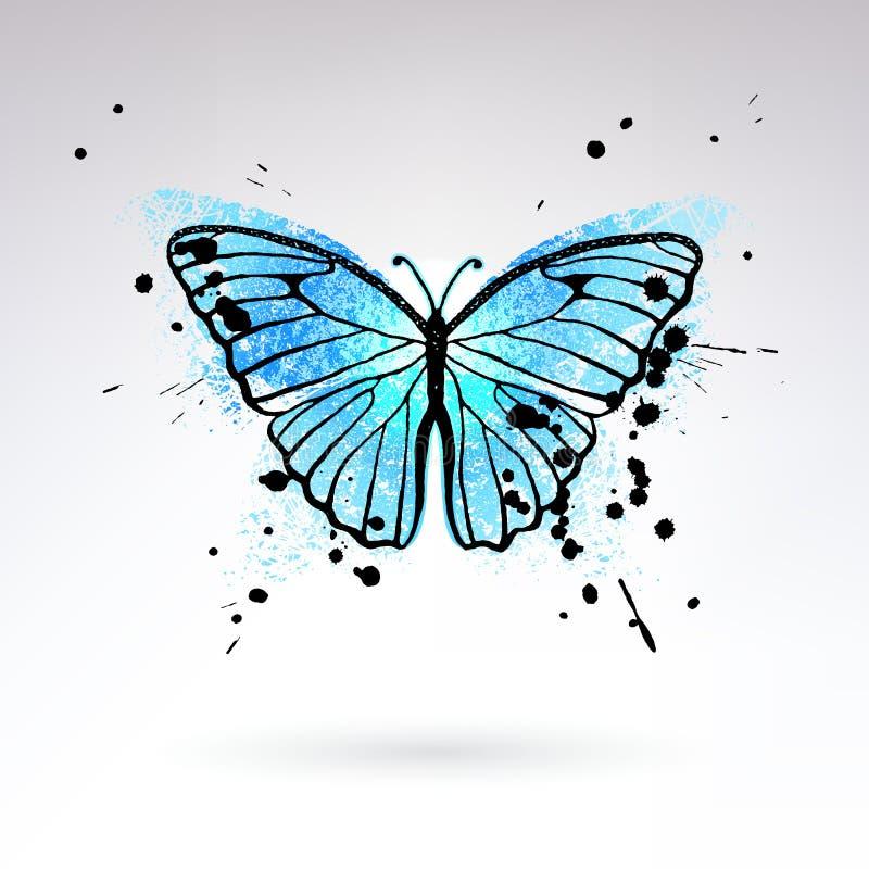 Mariposa azul brillante decorativa ilustración del vector