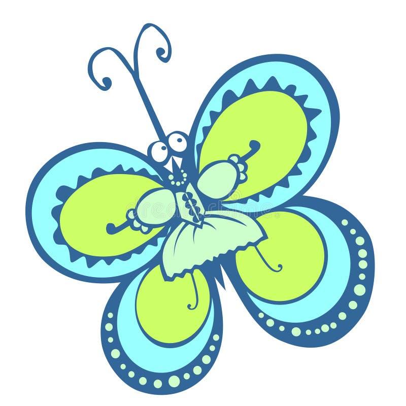 Mariposa azul verde en un vestido chica verano ojos grandes vestido elegante ilustración del vector