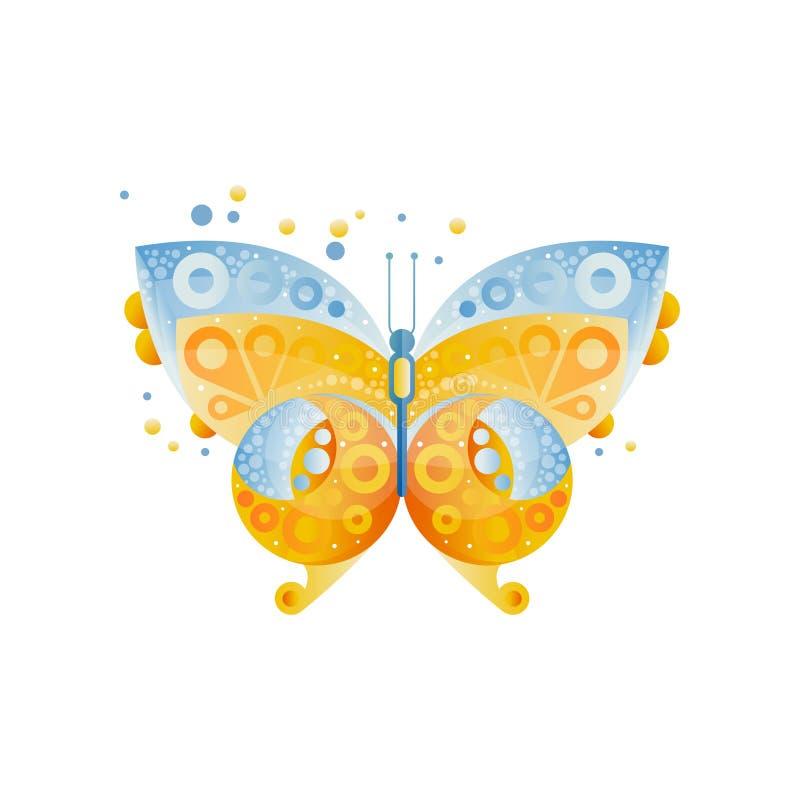 Mariposa brillante con el modelo hermoso en las alas Azul y amarillo Icono original con pendientes y textura plano ilustración del vector