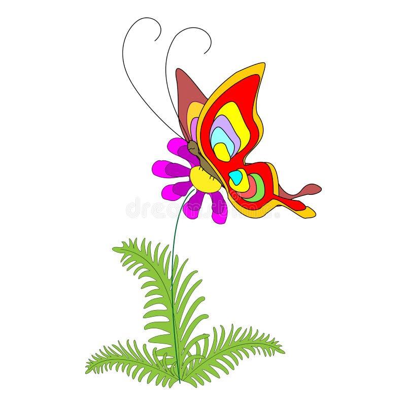 Mariposa brillante en una flor hermosa El triunfo de la primavera y de la alegría Ilustraci?n del vector stock de ilustración