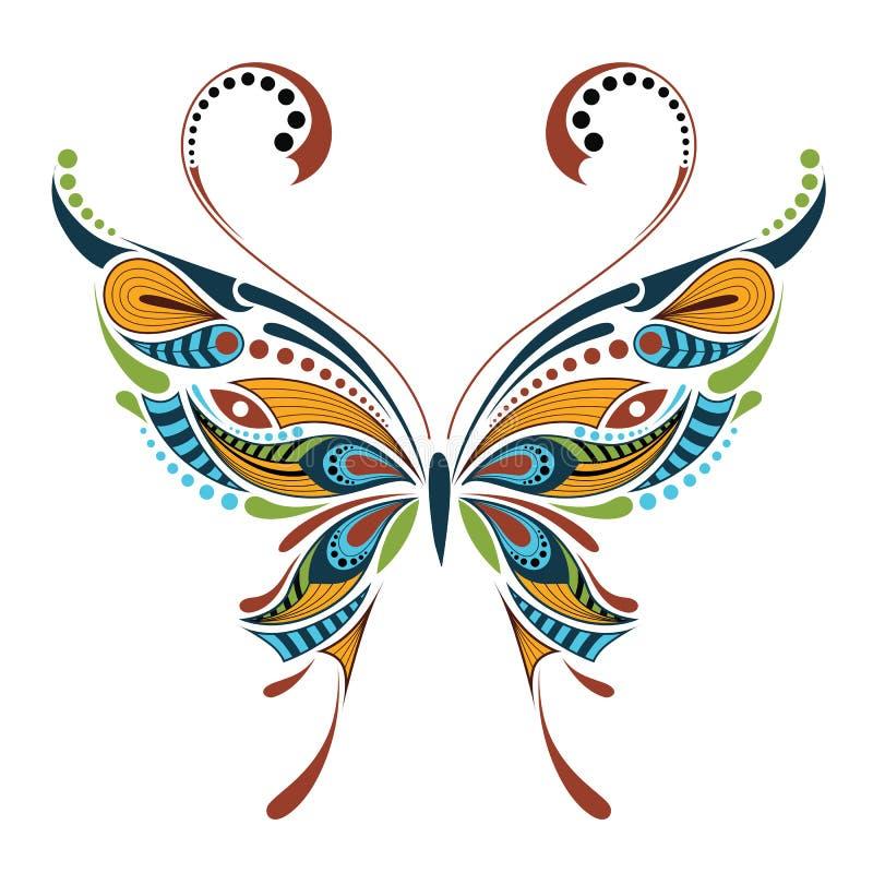Mariposa coloreada modelada Diseño africano/del indio/del tótem/del tatuaje libre illustration