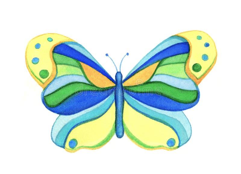Mariposa colorida, ejemplo de la acuarela ilustración del vector