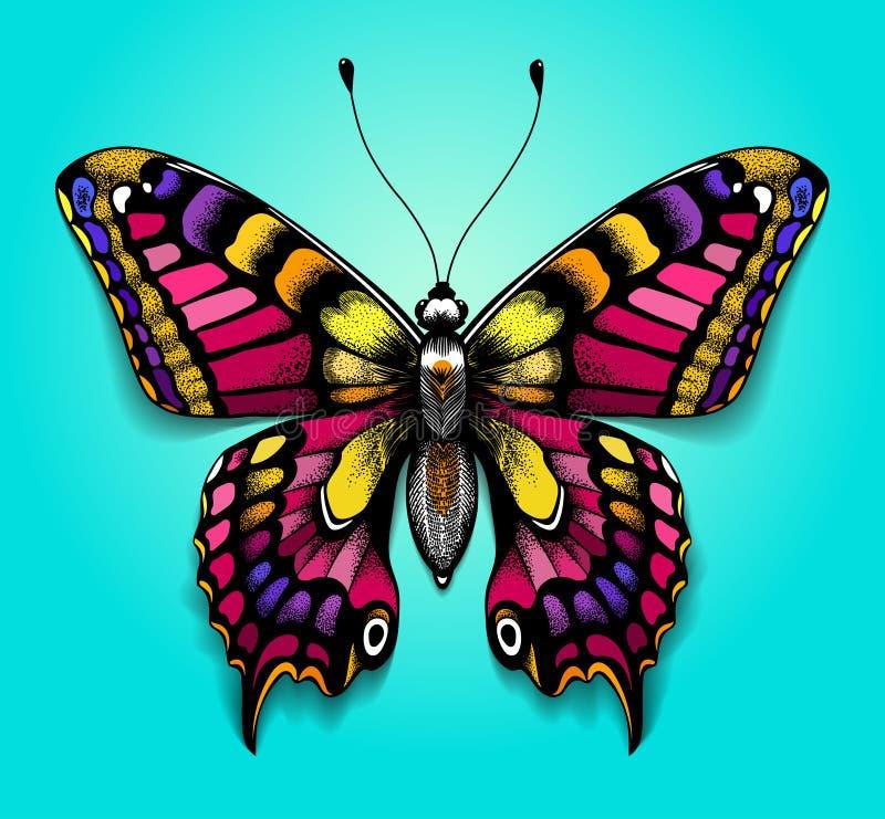 Mariposa colorida hermosa en fondo azul Tatuaje brillante para su parte posterior Mariposa realista tropical machaon libre illustration