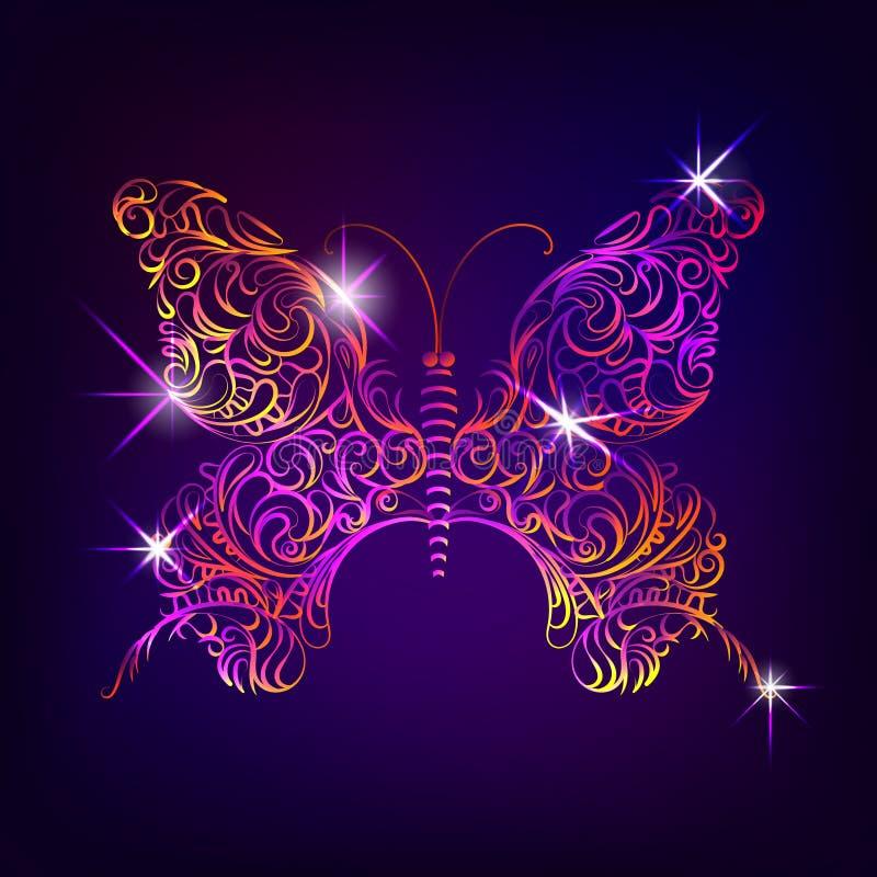 Mariposa con el modelo ornamental decorativo en estilo del garabato stock de ilustración
