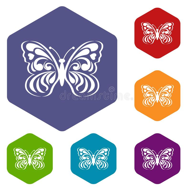 Mariposa con modelar abstracto en icono de las alas stock de ilustración