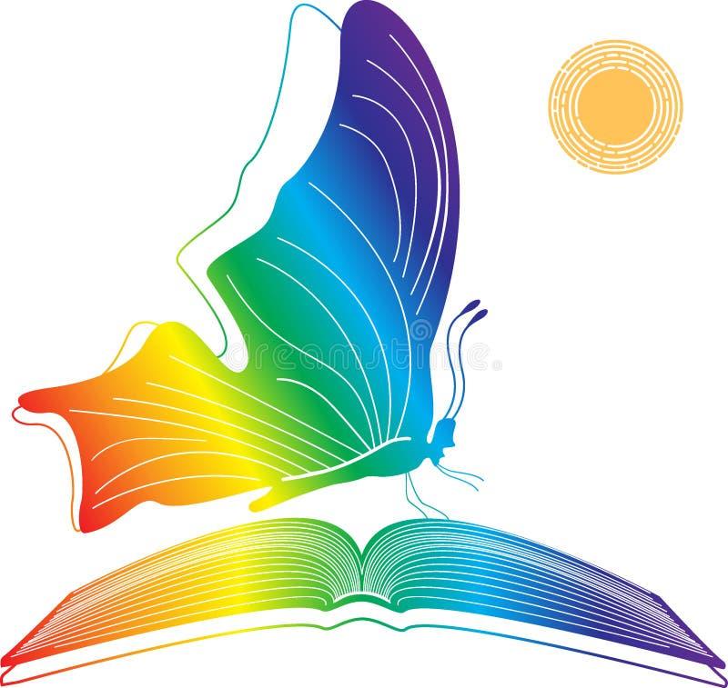 Mariposa con un libro abierto stock de ilustración