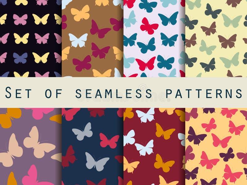 Mariposa Conjunto de modelos inconsútiles con las mariposas stock de ilustración