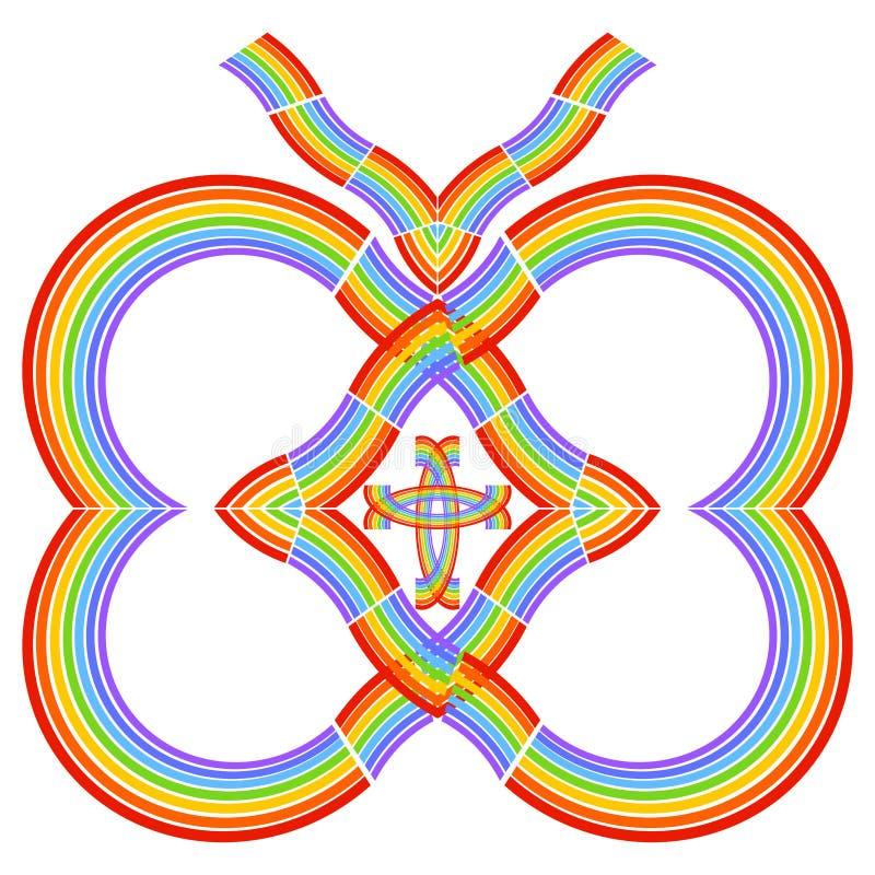 Mariposa cristiana creativa de corazones del arco iris con un interior cruzado stock de ilustración