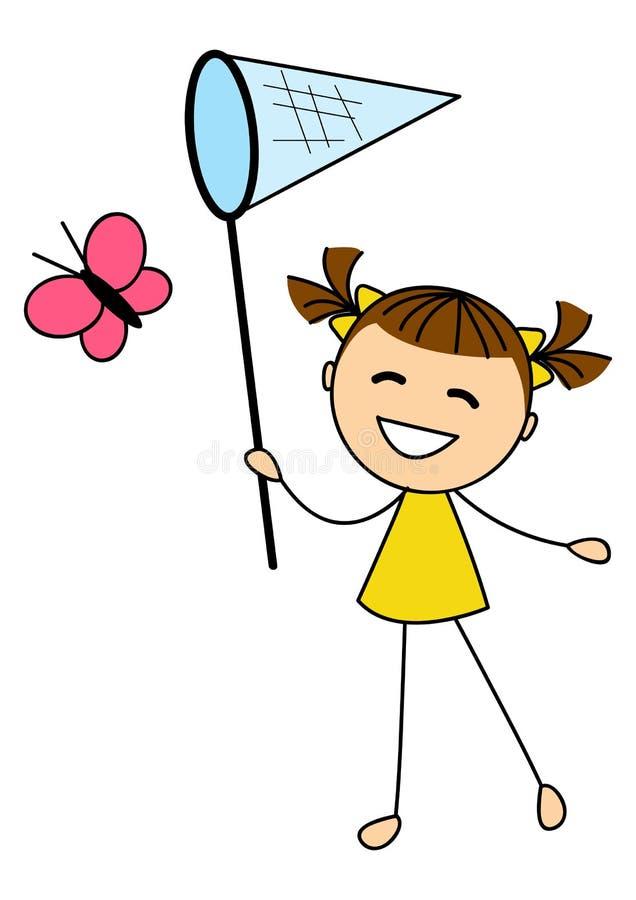 Mariposa de cogida de la niña linda ilustración del vector