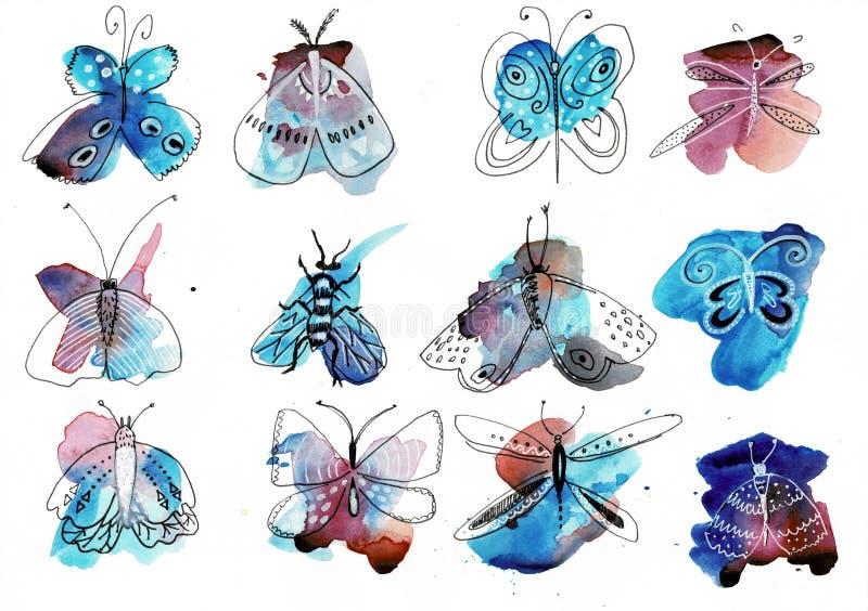 Mariposa de la acuarela aislada en el fondo blanco Ejemplo colorido del arco iris de la mariposa de la acuarela con el espray ilustración del vector