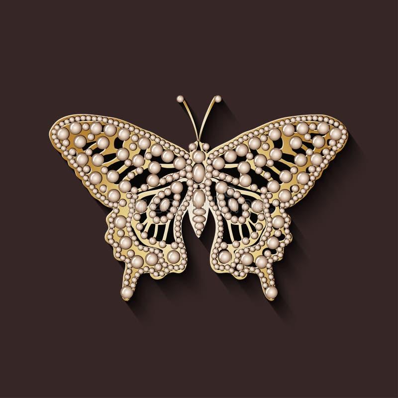 Mariposa de la broche de la perla ilustración del vector