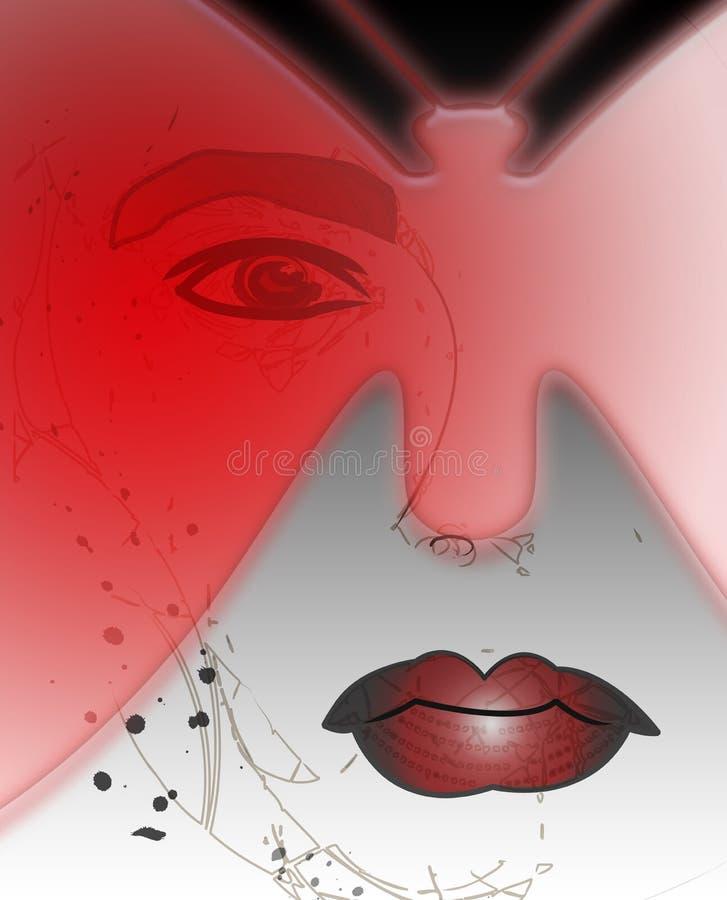 Mariposa de la máscara de Halloween del ejemplo en mujer roja stock de ilustración