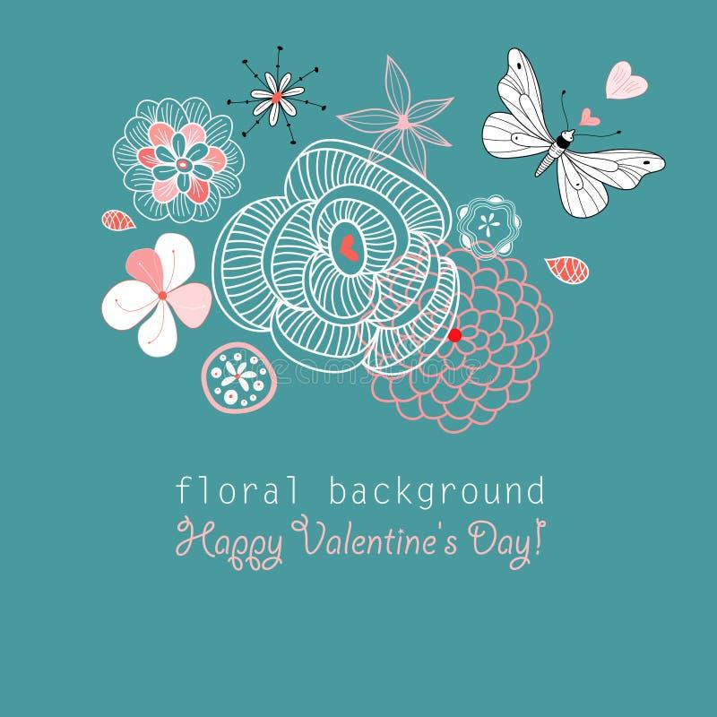 Mariposa de la postal entre las flores stock de ilustración