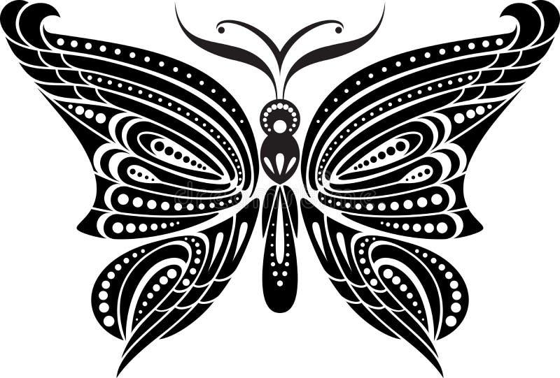 Mariposa De La Silueta Con Las Alas Delicadas Dibujo