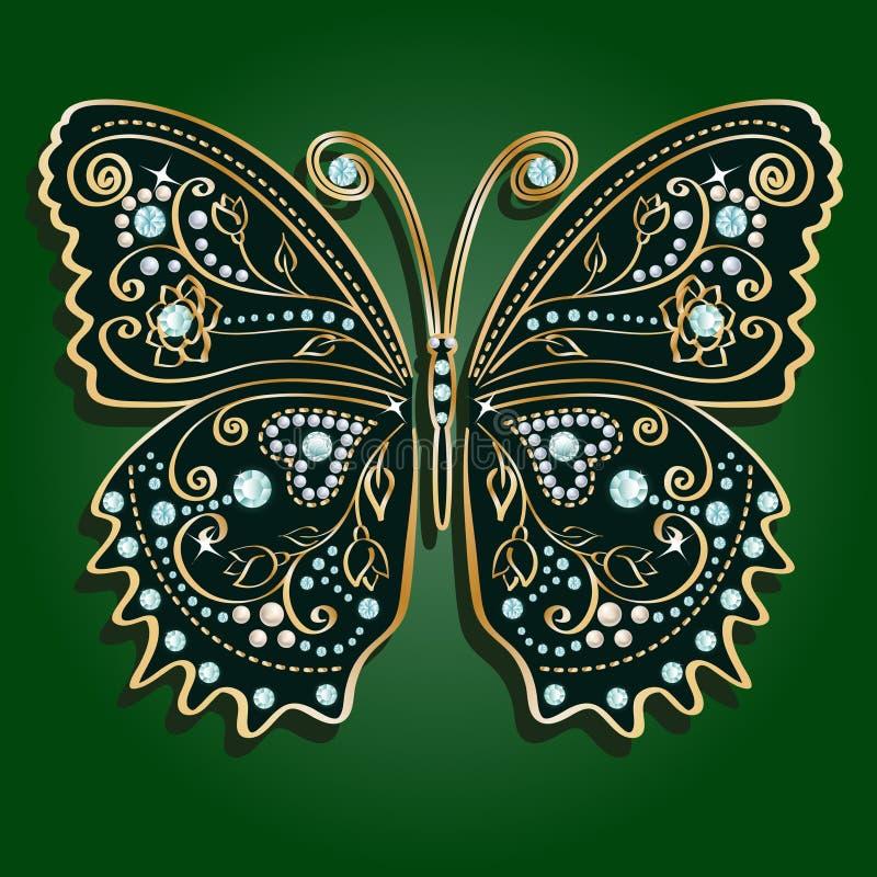 Mariposa de oro del vintage del vector del encanto ilustración del vector