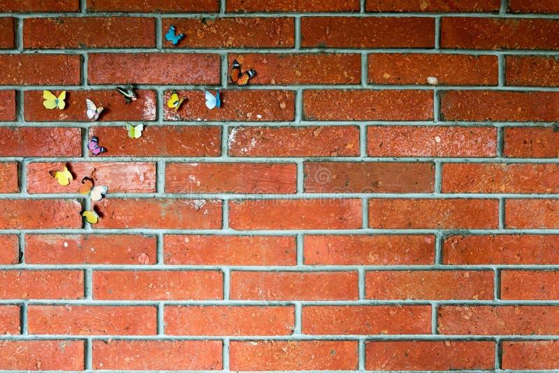 Mariposa de pavo real en una pared vieja del ladrillo rojo fotografía de archivo libre de regalías