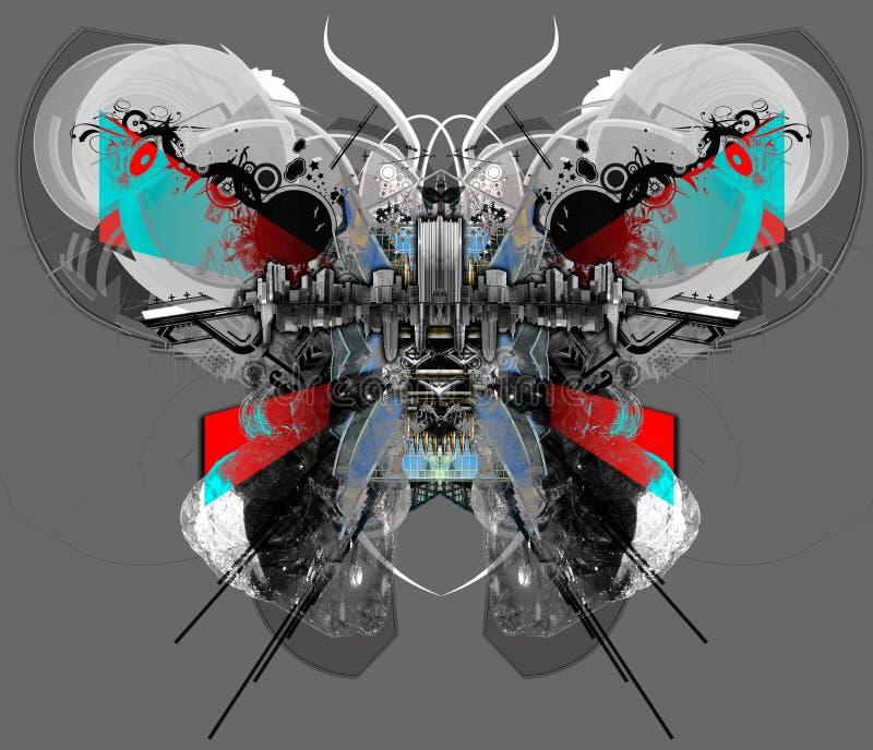 Mariposa de Techno. stock de ilustración