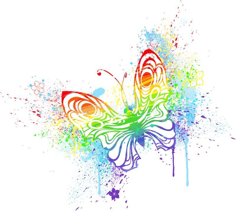 Mariposa del arco iris ilustración del vector