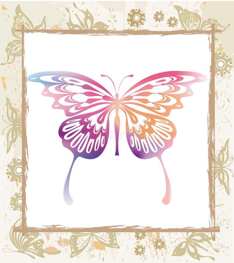 Mariposa Del Color En Un Marco Ilustración del Vector - Ilustración ...