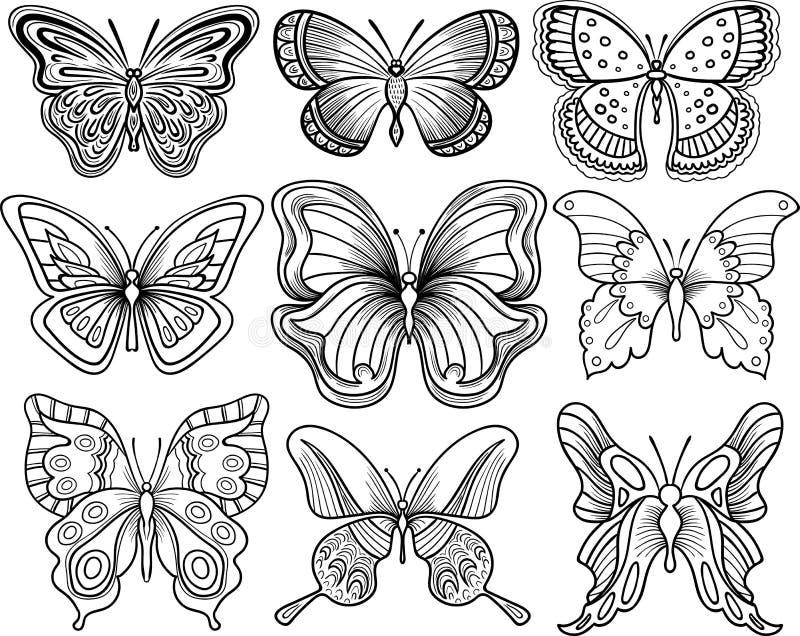Mariposa del dibujo de la mano imagen de archivo