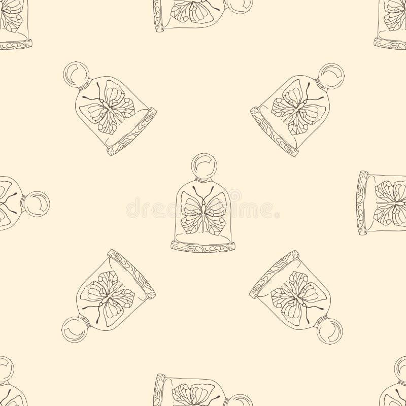 Mariposa del ejemplo debajo de la bóveda Modelo inconsútil stock de ilustración