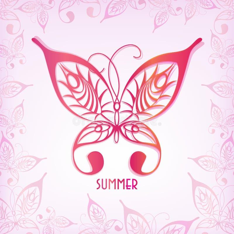 Mariposa del gráfico de vector Ejemplo de un insecto del verano stock de ilustración