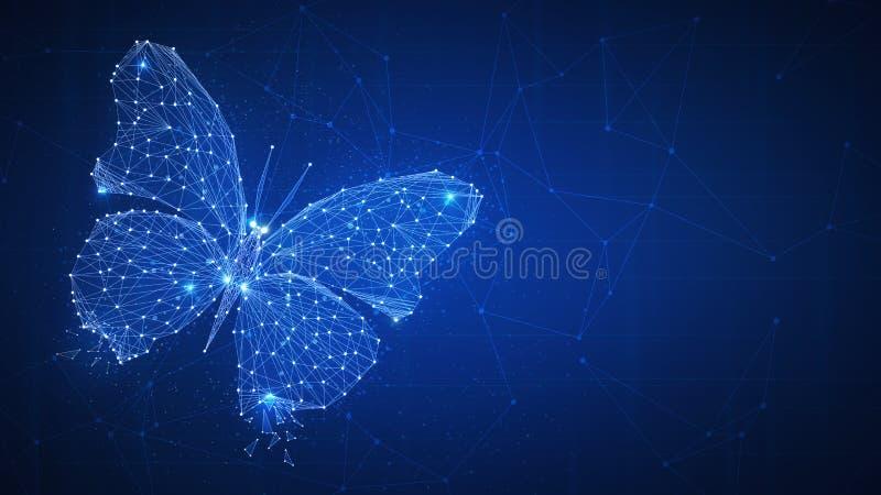 Mariposa del polígono en bandera del hud del blockchain ilustración del vector