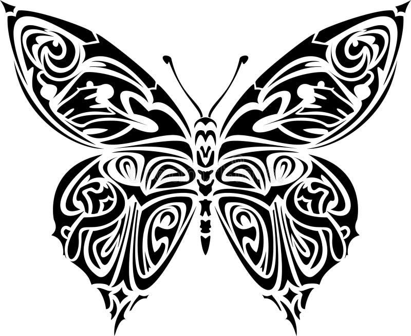 Mariposa del tatuaje ilustración del vector