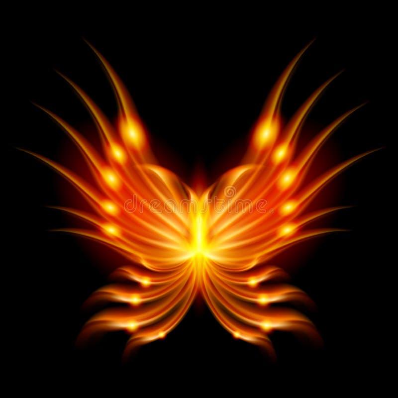 Mariposa del vuelo con las alas ardientes stock de ilustración
