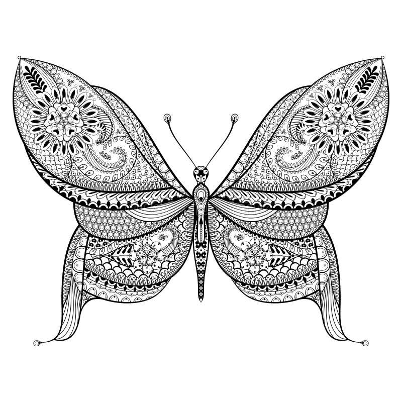 Mariposa dibujada mano en estilo del zentangle Patte tribal ornamental fotos de archivo libres de regalías