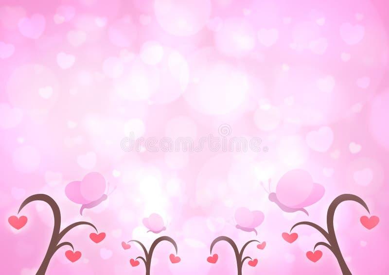 Mariposa e historieta del árbol del corazón del amor en el corazón rosa claro b de la falta de definición stock de ilustración