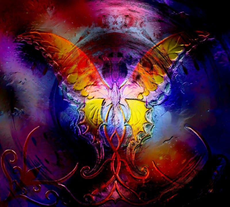 Mariposa en espacio cósmico efecto del diseño gráfico y del vidrio ilustración del vector
