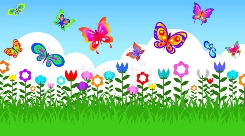 Mariposa en jardín stock de ilustración