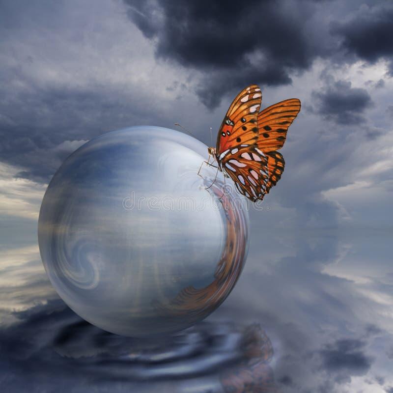 Mariposa en la bola cristalina foto de archivo