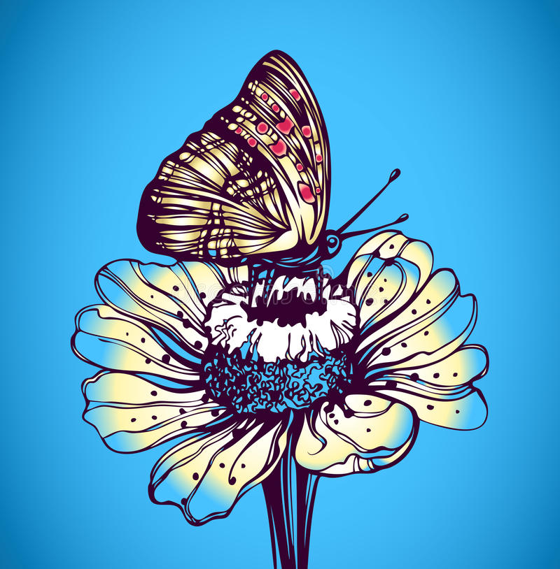 Mariposa en una margarita libre illustration