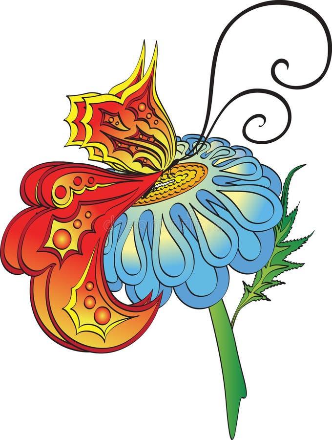 Mariposa en una margarita stock de ilustración