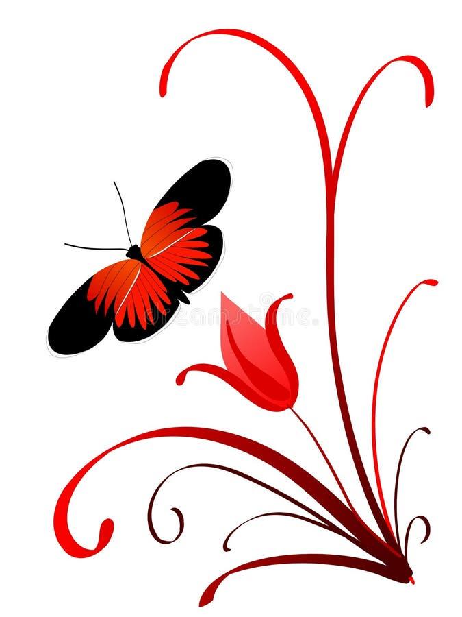 Mariposa en una ramificación ilustración del vector