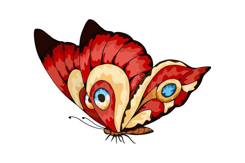 Mariposa estilizada de la mosca para casarse las invitaciones, tarjetas, boletos, enhorabuena stock de ilustración