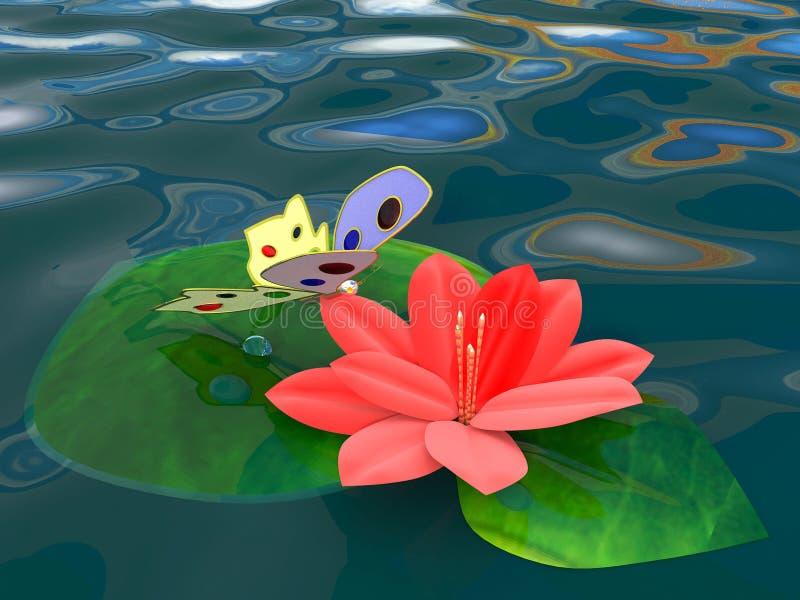 Mariposa fantástica en una flor de Lotus rojo fotos de archivo libres de regalías