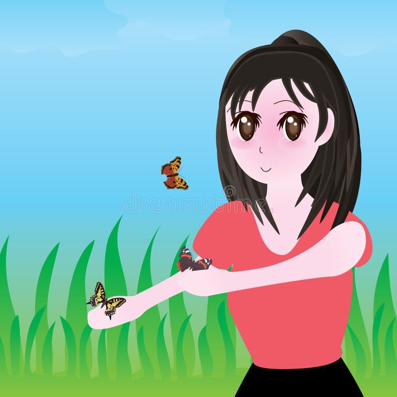 Mariposa feliz del manga de la muchacha stock de ilustración
