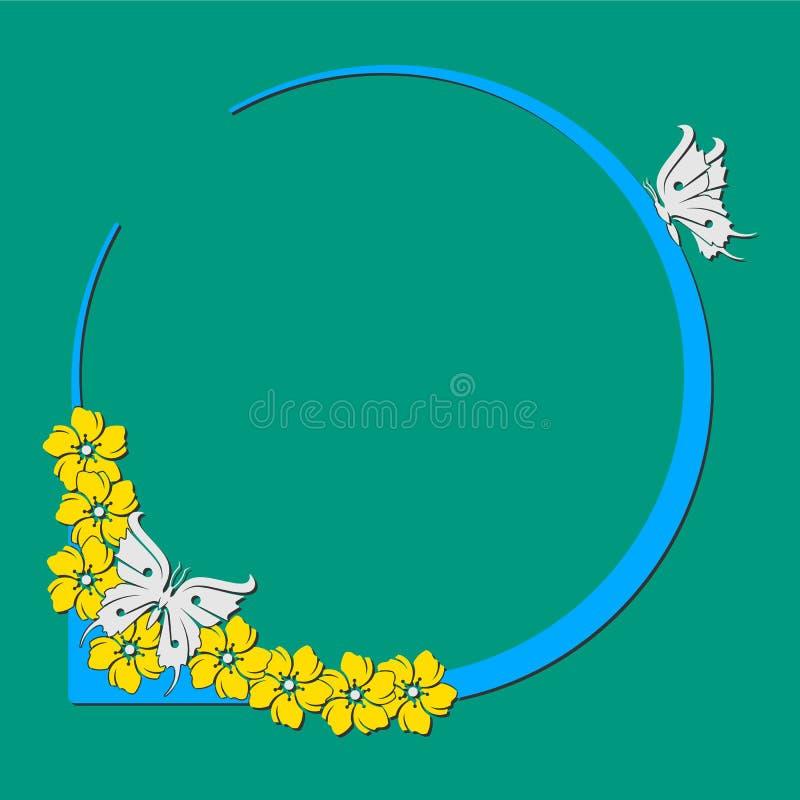 Mariposa-flor-círculo-marco stock de ilustración