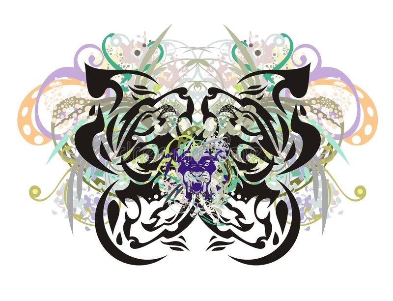 Mariposa floral adornada con la cabeza de león-Eagle dentro libre illustration