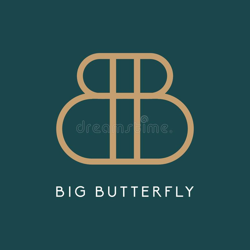 Mariposa grande Logo Icon Insignia de la letra B Logotipo real del lujo B fotografía de archivo libre de regalías