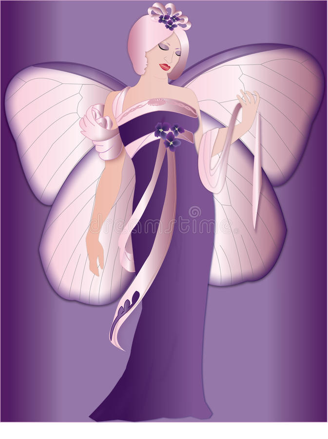 Mariposa, hada, púrpura, febrero fotos de archivo