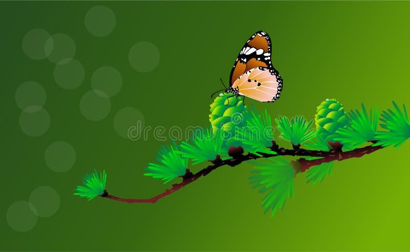 Mariposa hermosa del vector en una flor y una rama del vector del árbol stock de ilustración
