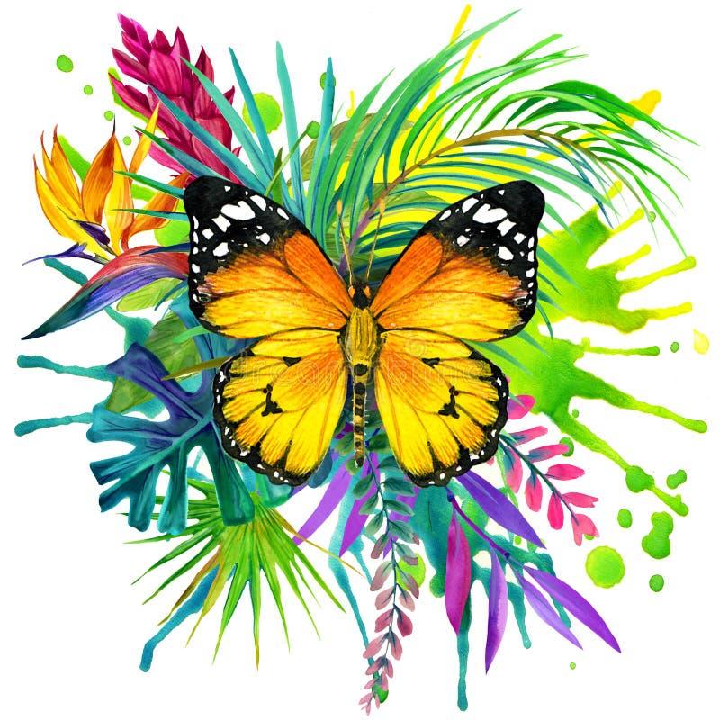 Mariposa, hojas tropicales y flor exótica ilustración del vector