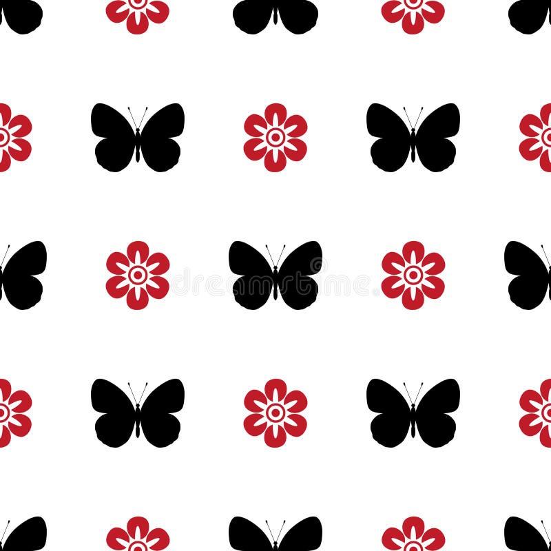 Mariposa inconsútil del negro, blanca y roja del modelo libre illustration