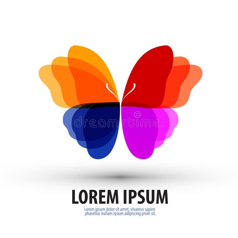 Mariposa Logotipo, icono, muestra, emblema, plantilla ilustración del vector