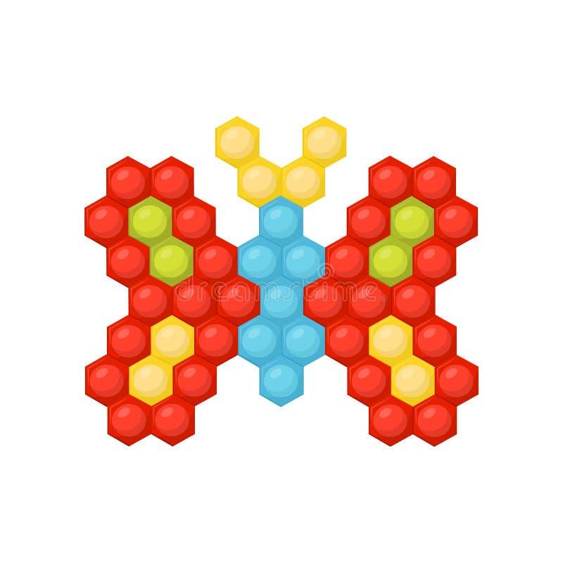 Mariposa preciosa hecha de rompecabezas multicolor del mosaico de los niños s Juego educativo de la diversión Diseño plano del ve ilustración del vector